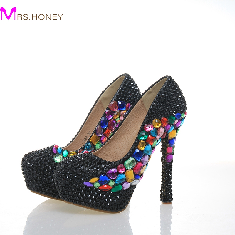 Black Rhinestone Wedding Party Shoes Round Toe Stiletto Heel Cinderella Prom Crystal Nightclub Shoes Handmade Bridal Dress Pumps white ab crystal wedding shoes sparkling rhinestone bridal dress shoes plus size platform high heel shoes cinderella prom pumps