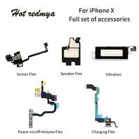 1Set Mobile Phone Flex Cables For iPhone X 5.8 Ten Charging Port USB Dock+Sensor Flex+Power on/off+Volume Flex+Speaker