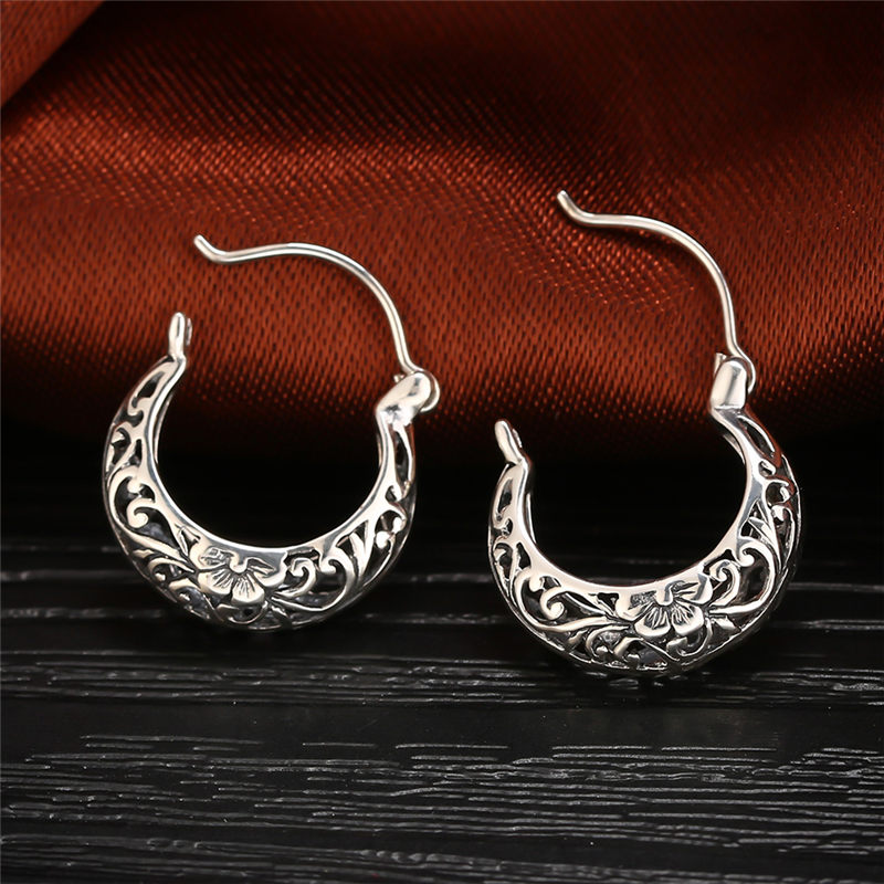 GAGAFEEL 100% Real Pure 925 Sterling Silver Female Fashion Jewelry Hollow Flower Retro Earrings for Women Lover Gifts Drop Ship