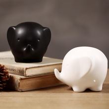 Creativity Desktop Display White&Black Elephant Statue Nordic Style Ceramic Animal Sculpture Crafts Home Decoration Figurine 133