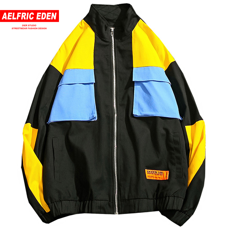 Aelfric Eden Retro Jackets Men Vintage Color Block Full Zipper Tracksuit Stand Collar Hip Hop Track Jacket Casual Outwear UK10