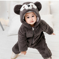 Warm Baby Rompers Autumn Winter Thick Cotton Boy Funny Bear Warm Hooded Cartoon Costume Animal Afairytale Jumpsuit Outfit