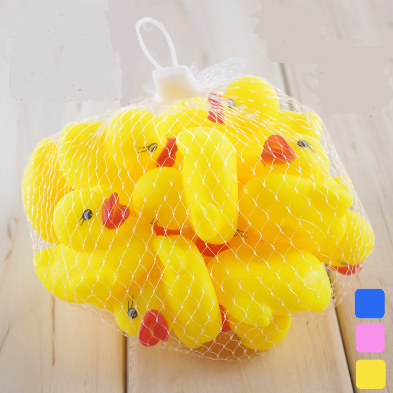 Small Blue Yellow Pink Rubber Duck Toy Kid Bath Toy For Baby Soft Floating Squeaky Toy Cute Bathroom Waterplay Swimming Pool Toy