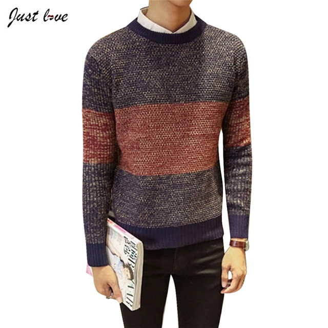 2017 Men Mix Color Sweater Male O-neck Plus Size M-2XL Retro Japanese Sweater Show Slim Long Sleeve Knitted Sweater Pullover