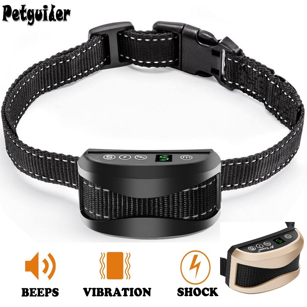 Dog Anti Bark Collar Pet Dog Bark Stop Collar No Bark Waterproof Rechargeable Sound Vibration Pet Training Collar Shock Optional