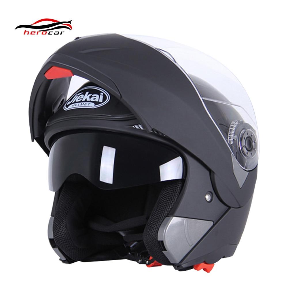 JIEKAI Black Motorcycle Helme Moto Casco Motocross Helmet Full Face Helmet Men Flip Up Visor Racing Modular Motorbike Riding