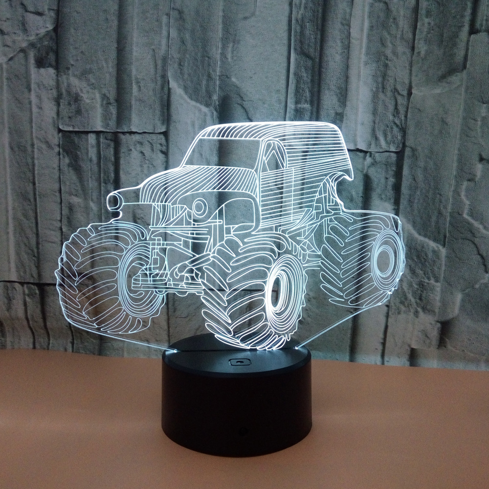 Creative Tractor 3D Acrylic Illusion Lights Kids Toy Tractor Model Led Night Lights Colorful 3D Lamp as Sitting Room Decoration