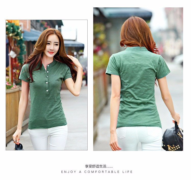 7697cbdffb1 Cotton Slim Short Sleeve Polo Shirts For Women Causal Solid Women s ...