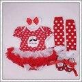 Recém-nascidos vestuário primeiro aniversário do bebê menina de natal papai noel imprimir Tutu vestido + Headband + Leggings + sapatos de bebê Set Xmas trajes