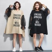 2019 Summer Dress Women Fashion Big Plus Size Clothes Ladies Tshirt Dresses Autumn Black Mesh Long Sleeve Mini Dress Cotton
