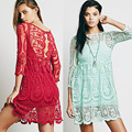 2016 nova moda vestidos mulher bordado Lace Crochet perspectiva vestido de malha de mangas compridas O pescoço vestido de renda vestido ocasional