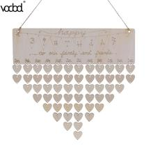 VODOOL DIY Wooden Calendar Happy Birthday Printed Heart Shape Wall Calendar Sign Special Dates Planner Board Hanging Decor Gifts