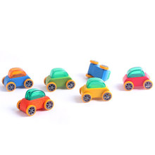 New 1:64 Candy Color Wooden Car Toy Mini Model Car Detachable Wooden Children Toys Car Kids Educational Toy Color Random цена и фото