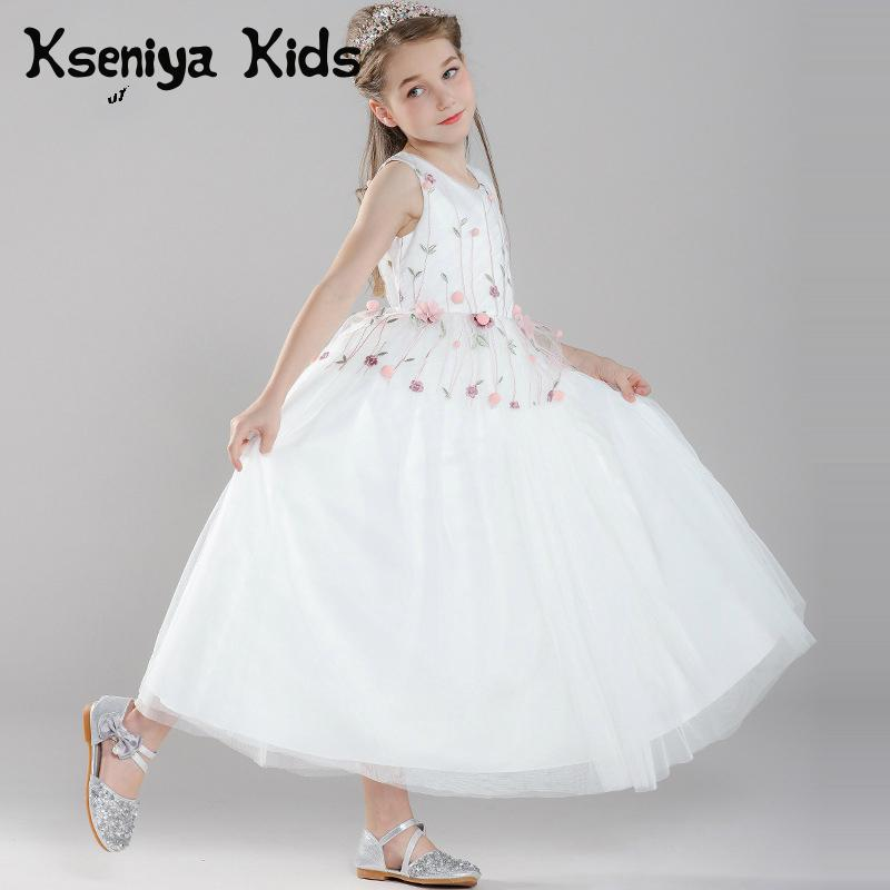 Kseniya Kids Girls Evening Dresses Flower Lace Girl Princess Dress For Party And Wedding Children Graduation Dresses 10 12 kseniya kids 2018 spring summer new children s clothing lace princess mesh lace sleeveless girls dresses for party and wedding