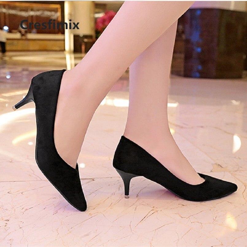 Cresfimix Femmes talons hauts women fashion high quality flock 6..5cm high heel shoes lady casual black office shoes a2960 картридж cubex pla бирюзовый
