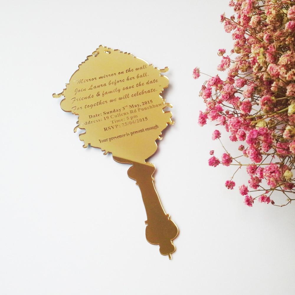 Small Pocket Acrylic Wedding Invitation Cardgolden Mirror Acrylic - Small invitation cards templates