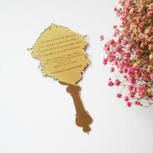 Small pocket acrylic wedding invitation card/golden mirror acrylic invitation card(1lot=100pcs)