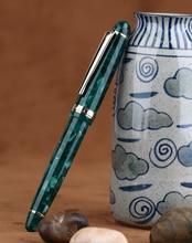Homem DA Lua S3 Acrílico Resina Fountain Pen Iridium Verde extra Fino/fina ponta 0.38/0.5 Milímetros Escrita Canetas de tinta guarnição do ouro Caneta Presente