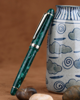 Moonman S3 Acrylic Resin Fountain Pen Green Iridium Extra Fine / Fine Nib 0.38 / 0.5mm Writing Ink Pens Gold Trim Gift Pen