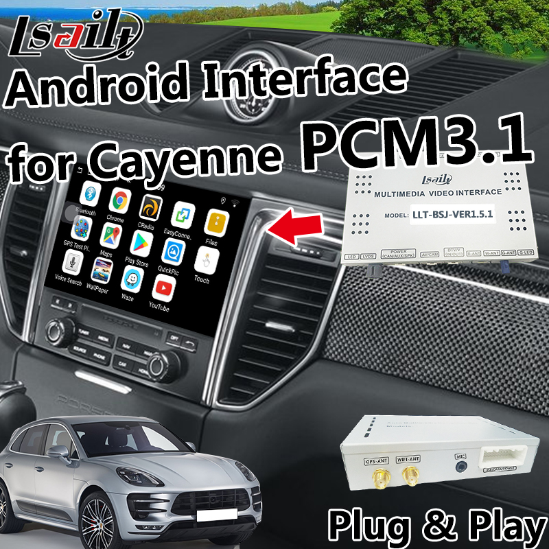 Plug and Play LVDS GPS Box Navigation pour Porsche Cayenne, Macan PCM 3.1 Vidéo Interface soutien Mirrorlink Applications.