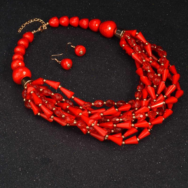 UDDEIN afrykańskie koraliki komplety biżuterii oświadczenie naszyjnik i wisiorek bib koraliki ręcznie robiona biżuteria ślub nigeryjski indyjski naszyjnik zestawy