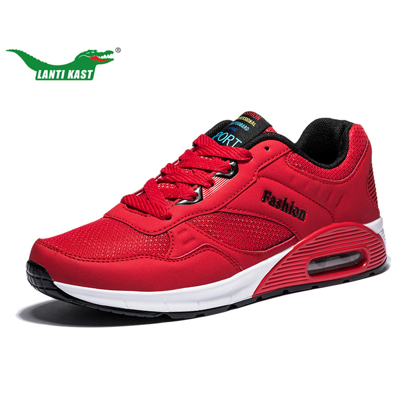 LANTI KAST Men Running Shoes Red Personality Comfortable Cushion Sneakers Men Outdoor Athletic Anti-slip Durable Sport Shoes