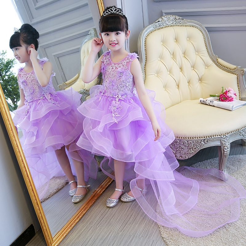 2017 New Sweet Purple Color Children Girls Princess Ball Gown Lace Dress Summer Sleeveless Wedding Birthday Dress With mesh Tail