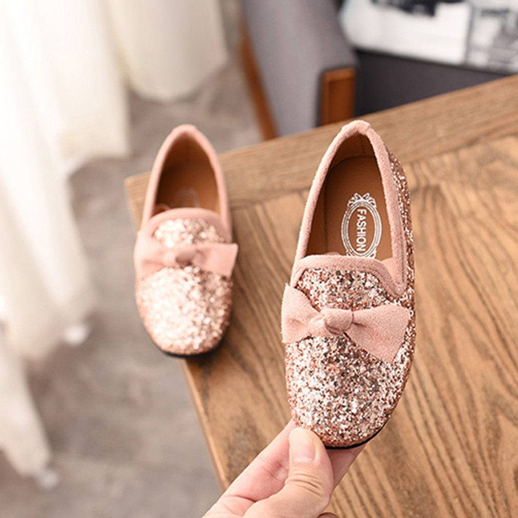 Baby Girls Shoes Children Kid Bowknot Bling Single Party Dance Shoes  Toddler Girl Wedding Children s Flats 739a4d55917f