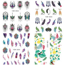 2 Sheets Feather Nail Stickers 3d Nail Art Decals Diy Vogels Water Transfer Stempelen Kawaii Decor Zomer Ananas(China)