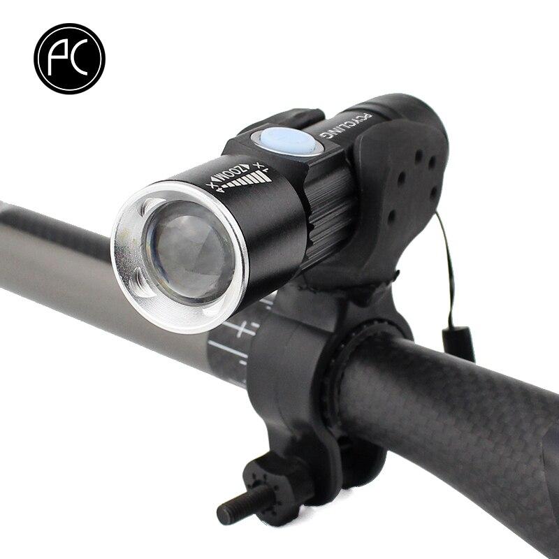 PCycling Vélo Lumière 2000 Lumen USB Rechargeable Vélo Avant Lumière VTT Vélo Lumière Zoom lampe de Poche Étanche Batterie Intégrée