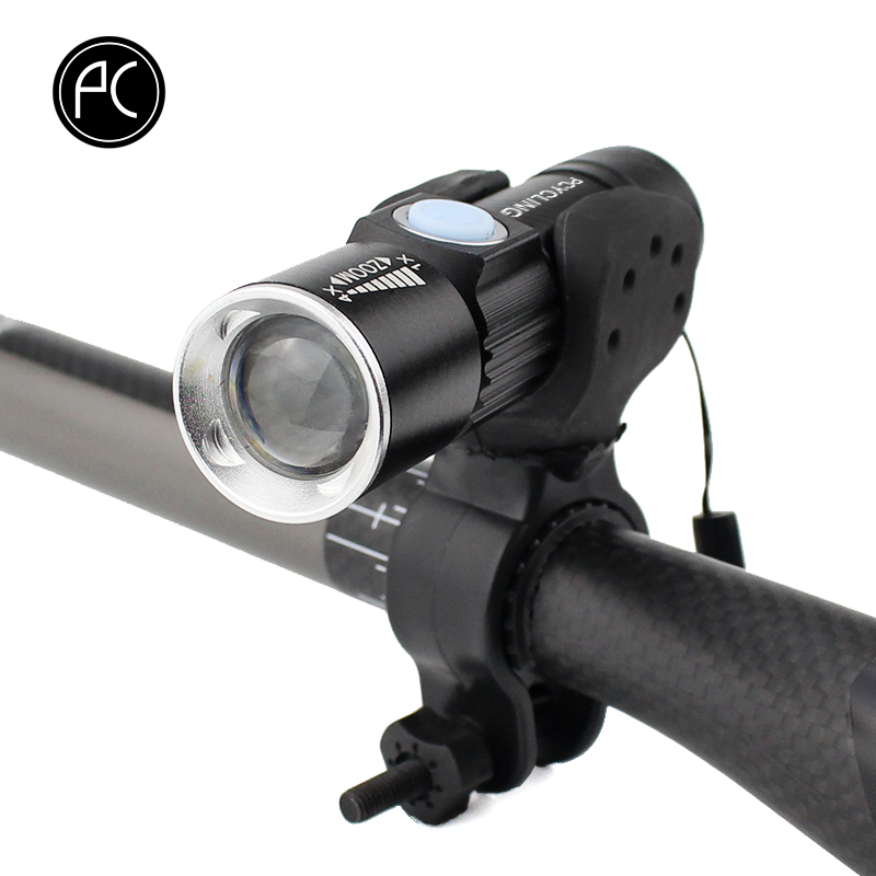 PCycling Bicycle Light 2000 Lumen USB Rechargeable Bike Front Light MTB Bike Light Zoom Flashlight Waterproof Built-in Battery