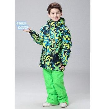 Gsou snow 10 K/зимняя одежда для мальчиков, теплая одежда для детей лыжный костюм + штаны, ветрозащитная плотная Спортивная одежда для улицы, костю