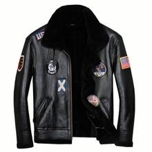 Free shipping.Mens plus size genuine leather jacket.biker sheep fur coat,winter warm sheepskin jackets.soft shearling wool