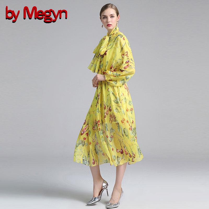 Sexy Cravate Robe Manches Perspective Pour Par Arc Floral Imprimé Megyn À Femme Casual 2018 Yellow D'été Robes A ligne Longues Femmes SS6fP