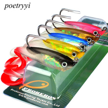 POETRYYI 5PCS Soft Bait with JIG Hook 5 Color Fishing Lure 10cm 14.7g Tackle Lead