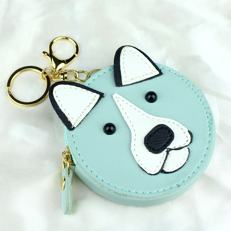 Round Women Wallets Lady Moneybags Gold Keychain Coin Purse Woman Mini Wallet ID Cards Holder Cartoon Dog Purses New Moeny Bags women wallets lady moneybags zipper coin purse woman envelope wallet money cards id holder bags purses pocket