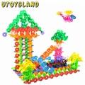 UTOYSLAND 215 Pcs 4.3cm DIY Multicolor Plastic Snowflake Building Blocks Children Kids Puzzle Montessori Educational Toys
