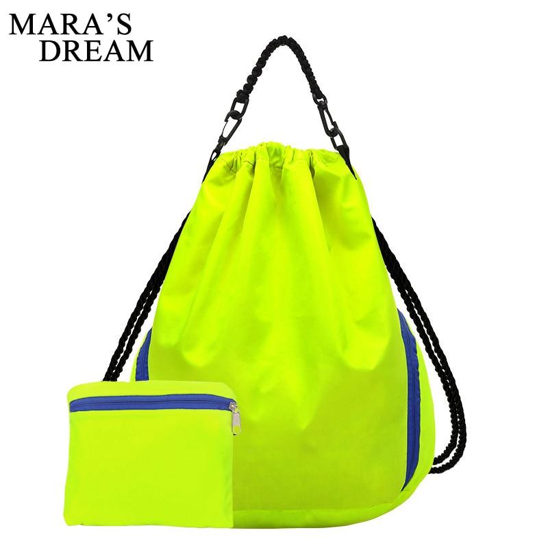 Mara's Dream 2 Set Women Men Drawstring Bag Pouch Beach Backpack String Foldable Pack Bag Lightweight Travel Leisure Rucksack color block panel pouch design string t back