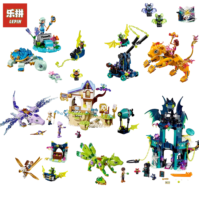 LEPIN Elves Series Noctura's Tower & the Earth Fox Rescue Wind Dragon Building Block Brick Toys For children Gift legoing Elves 10548 elves the precious crystal mine building block set naida farran figures baby dragon toys for children compatible 41177