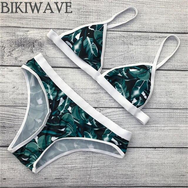 New style flower pattern green leaf women bikini adjustable strap swimsuit Brazilian bathing suit padded swimwear
