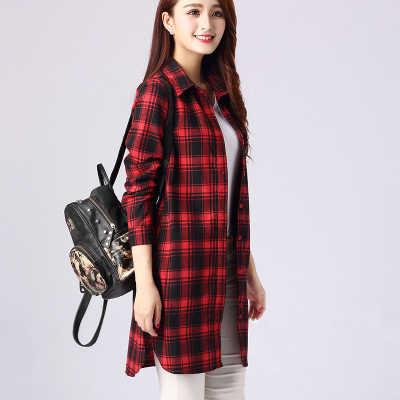 Женская хлопковая клетчатая рубашка с длинным рукавом Нерегулярные XXL Большие размеры женские рубашки Повседневная клетчатая туника Длинная блузка Топ черный красный Blusas