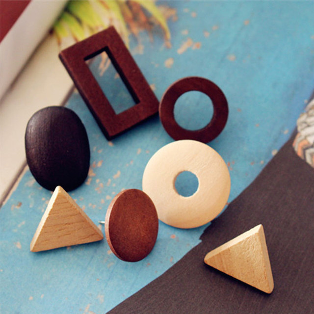 Handmade Black Elegant Natural Wood Stud Earrings