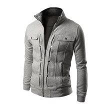 2016 Fashion Solid Color Coat Mens Hoodie Zipper Jacket Mens Hoodie Hot Sale Casual Standing Collar Fleece