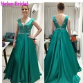 2016 Latest Stain Emerald Green Formal Evening Dress Gown Long Luxury Crystal Beading Special Occasion Dinner Dresses For Women