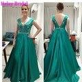 2016 mais recente mancha verde esmeralda vestido de noite Formal vestido longo luxo Beading cristal especial ocasião jantar vestidos para mulheres