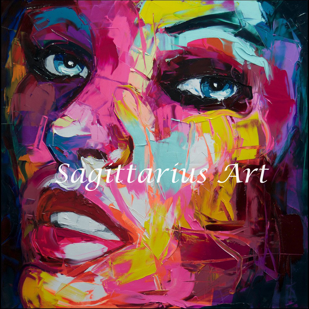 Hand Painted High quality Francoise Nielly Designers Palette knife Abstract Home Decor Oil Painting Canvas Bedroom Cool Faec Art