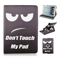 Don't Touch My Pad Pattern 360 Degree Rotating Stand Cartoon Leather Case for iPad Air 1