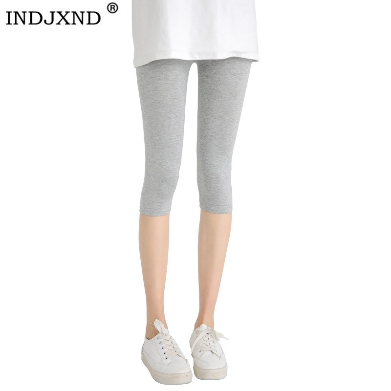 INDJXND Black Fitness Sporting Capri Women's High Waist Elastic Candy Colors Workout   Legging   Pants Trousers Elastic   Leggings