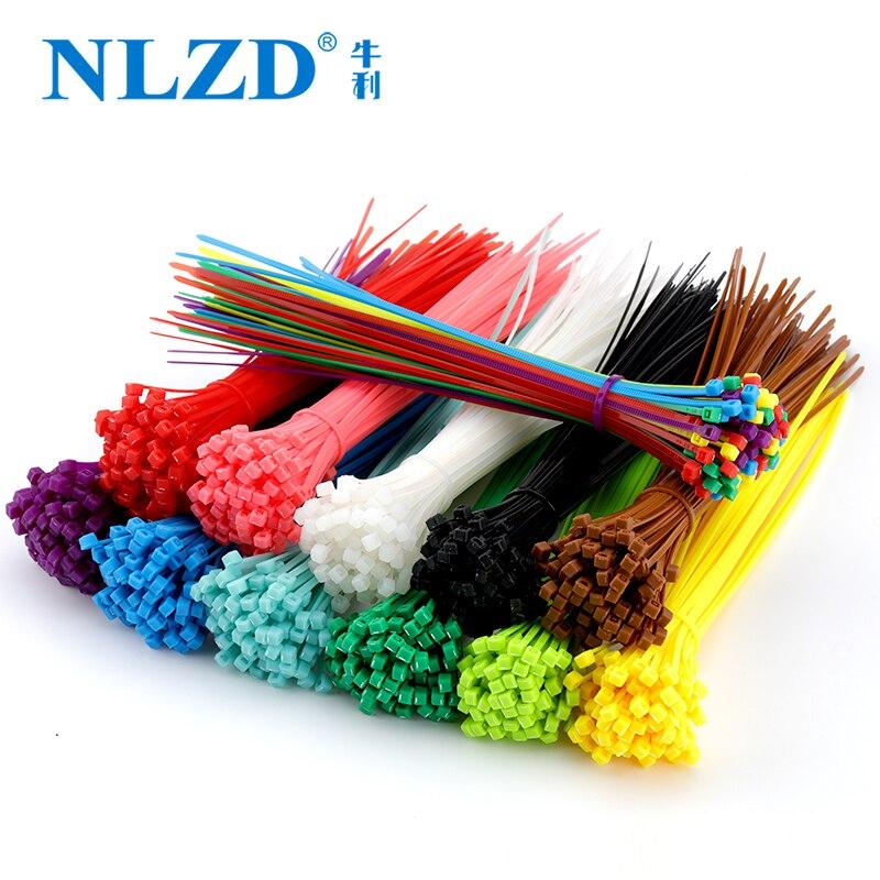 Мм 200 мм самоблокирующиеся Нейлоновые кабельные стяжки 8 дюймов 100 шт. 12 цветов пластмассовая застежка-молния 18 фунтов черный провод перепле...