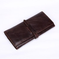 100 Top Genuine Cowhide Leather High Quality Men Long Wallet Coin Purse Vintage Designer Male Wallets